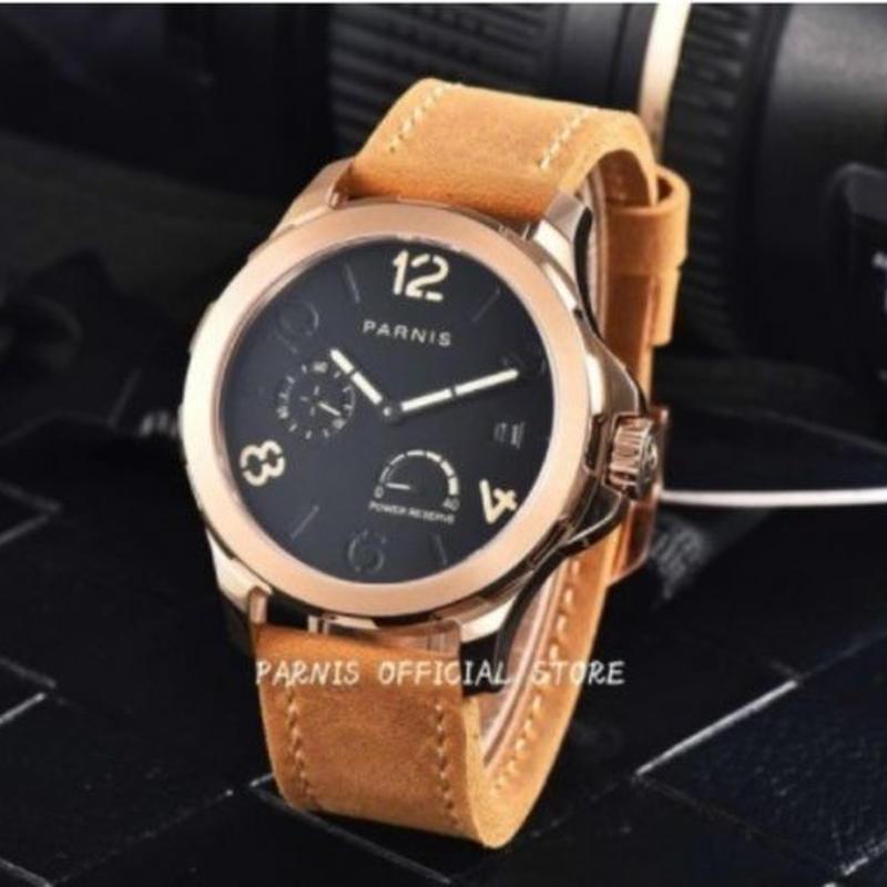 parnis 自動巻 機械式腕時計 メンズ 44mm ゴールド サファイアクリスタル レザーストラップ