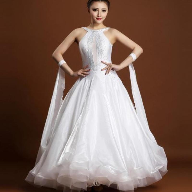 【サイズ選択可】社交ダンス ドレス スタンダード モダン デモ ダンス衣装 競技ダンス ホワイト 白 豪華