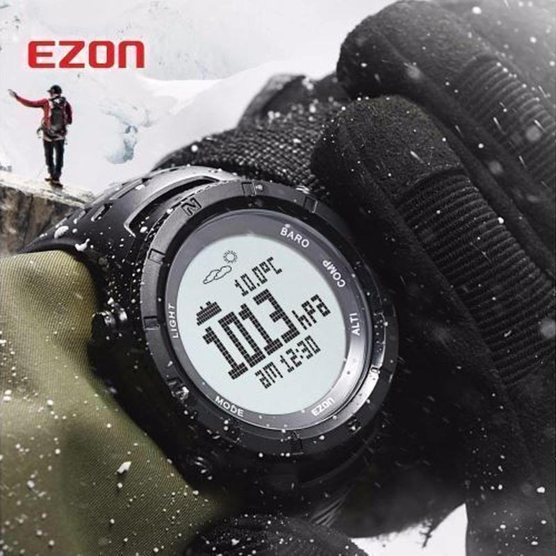 EZON 多機能 腕時計 メンズ スポーツ デジタル 高度計 バロメーターコンパス 温度計 ハイキング 登山