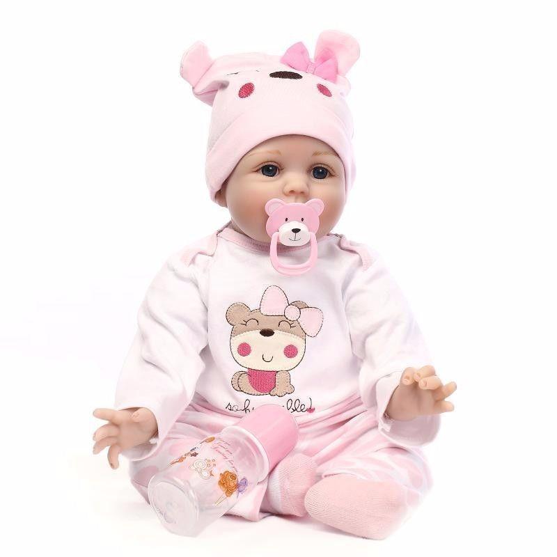 ぱっちりお目目♪ リボーンドール 女の子 赤ちゃん人形 ベビー人形 ベビードール リアル ハンドメイド リアル 綿&シリコン 22インチ
