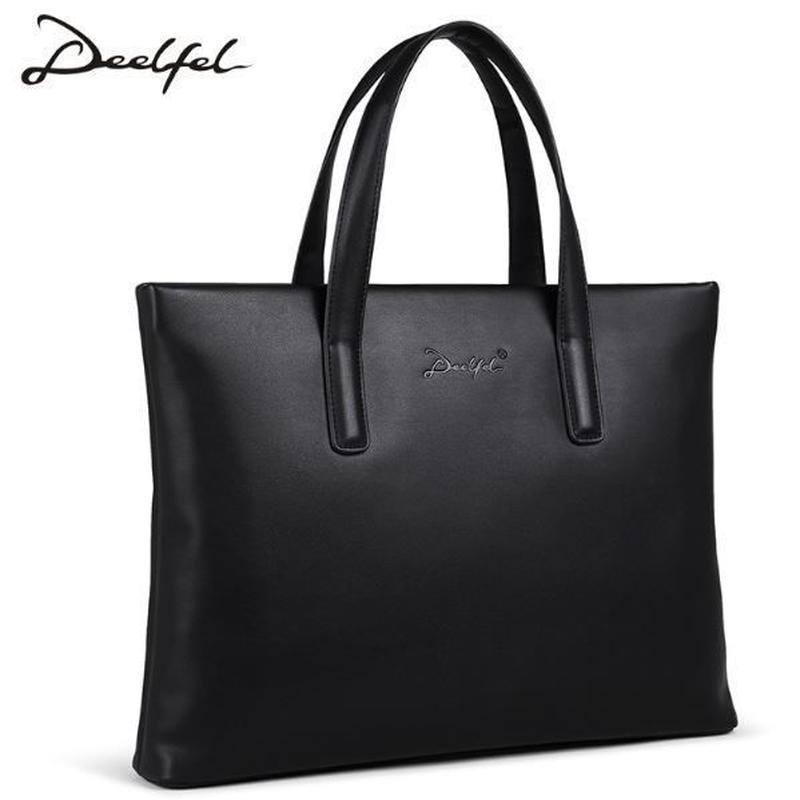 DEELFEL ビジネスバッグ ダッフル ブリーフケース レザー 海外 ブランド メンズ 鞄 バッグ ショルダー カジュアル ブラック