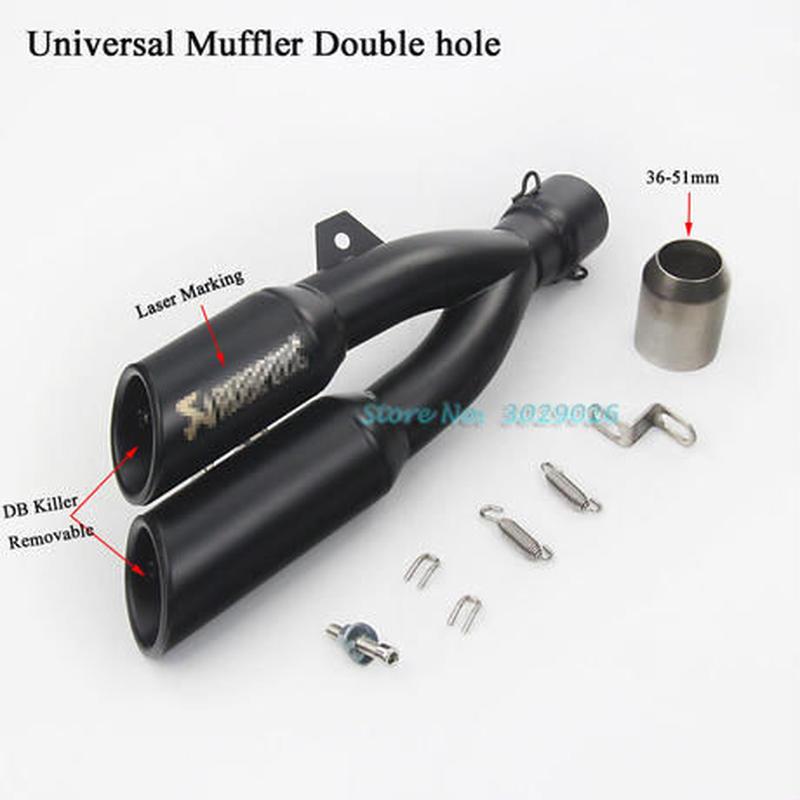 36~51ミリメートルユニバーサルダブル2穴オートバイ排気マフラーパイプ用ninja250 z300 r25モトレーザーマーキングエスケープでdbキラー
