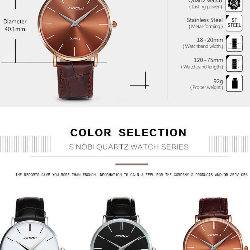Sinobi スーパースリム クォーツ 腕時計 男性 ビジネス 本革 カジュアル クォーツ 時計 メンズ レディース
