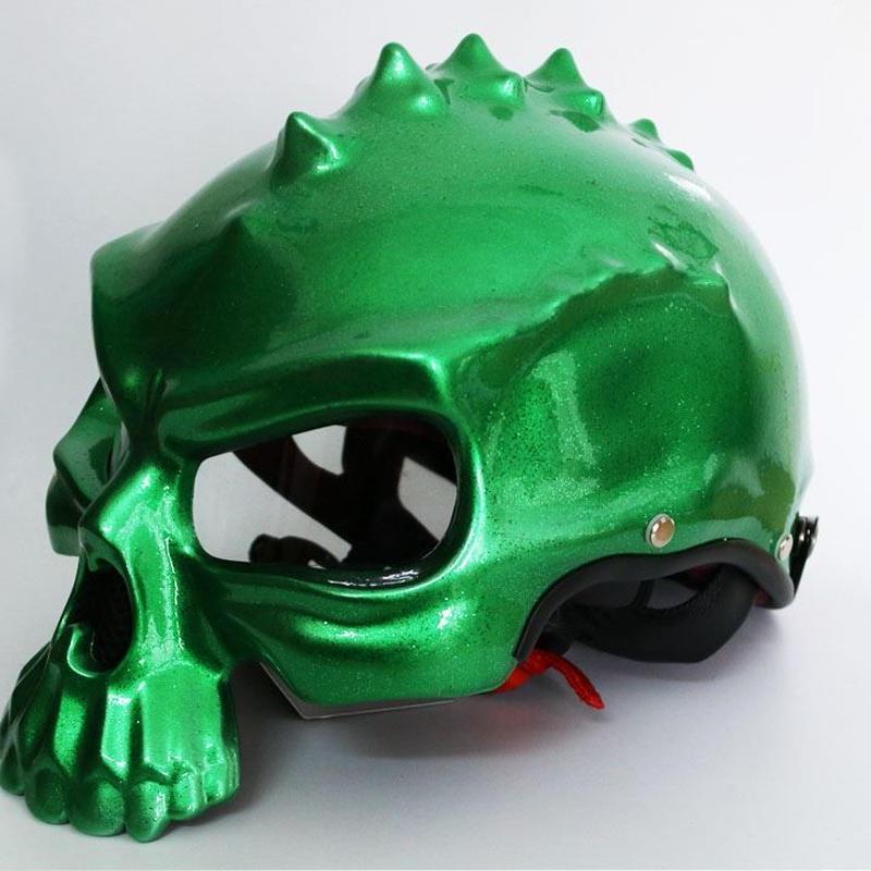 ドクロ スカル スタイル ヘルメット 半ヘル スノボ スノーボード ハーフ バイク キャップ おもしろ 目立つ M L XL  グリーン