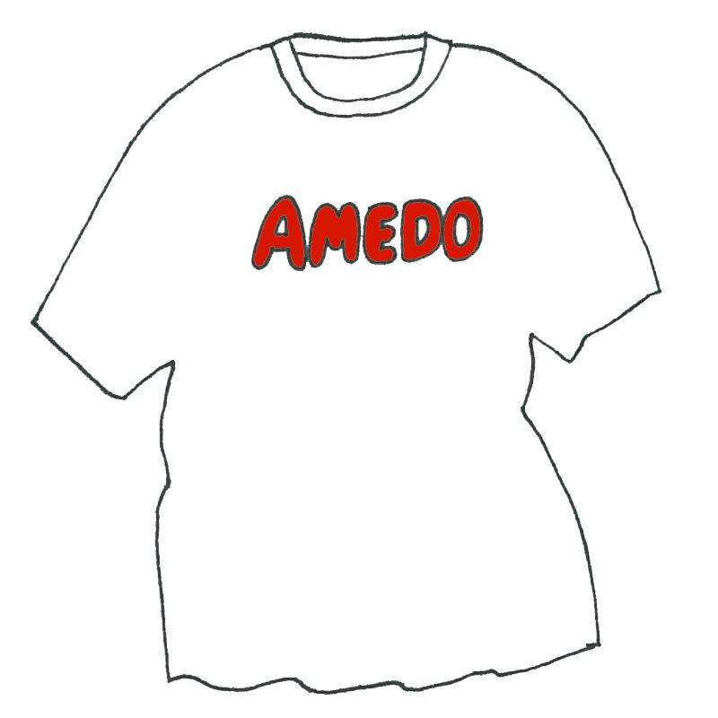 AMEDO T-shirt White 「 ketchup red print 」