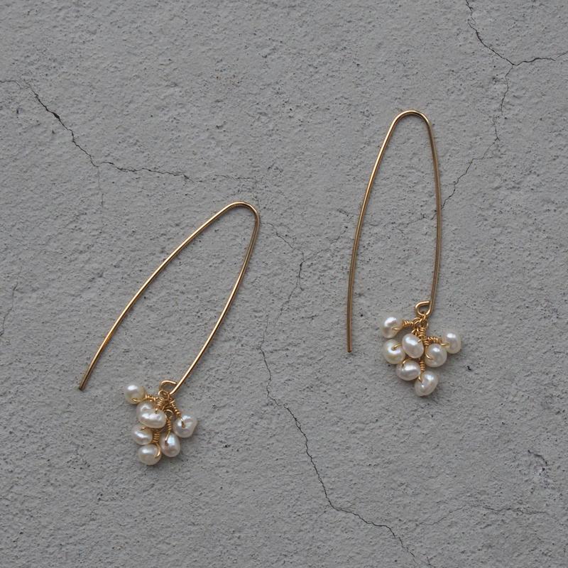 SU K14GF Long hook tsubu-tsubu pierced earring freshwater pearl