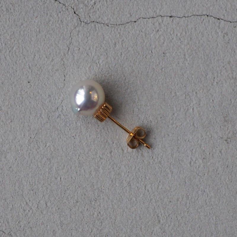 SU K18 pearls pierced earring 01  SLV+GLD