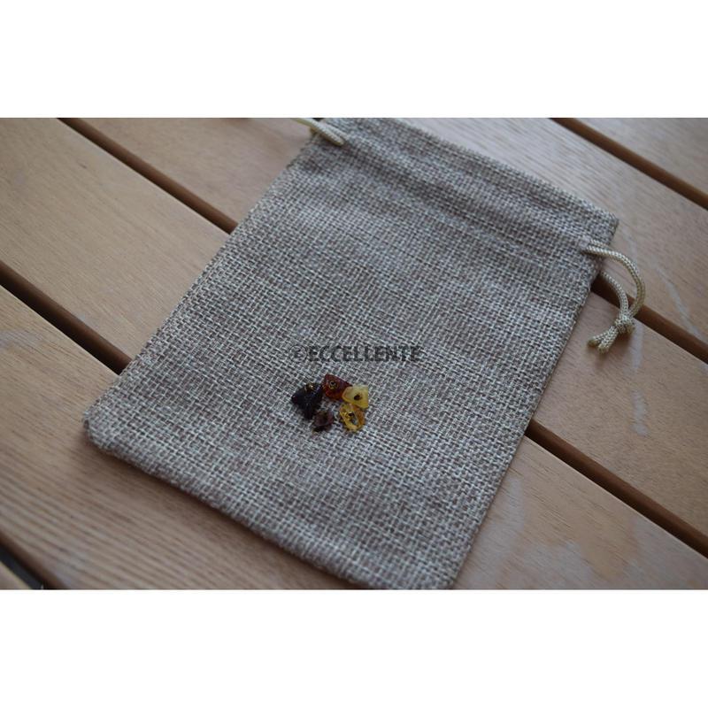 【東欧雑貨】リトアニアリネン x アンバー巾着袋