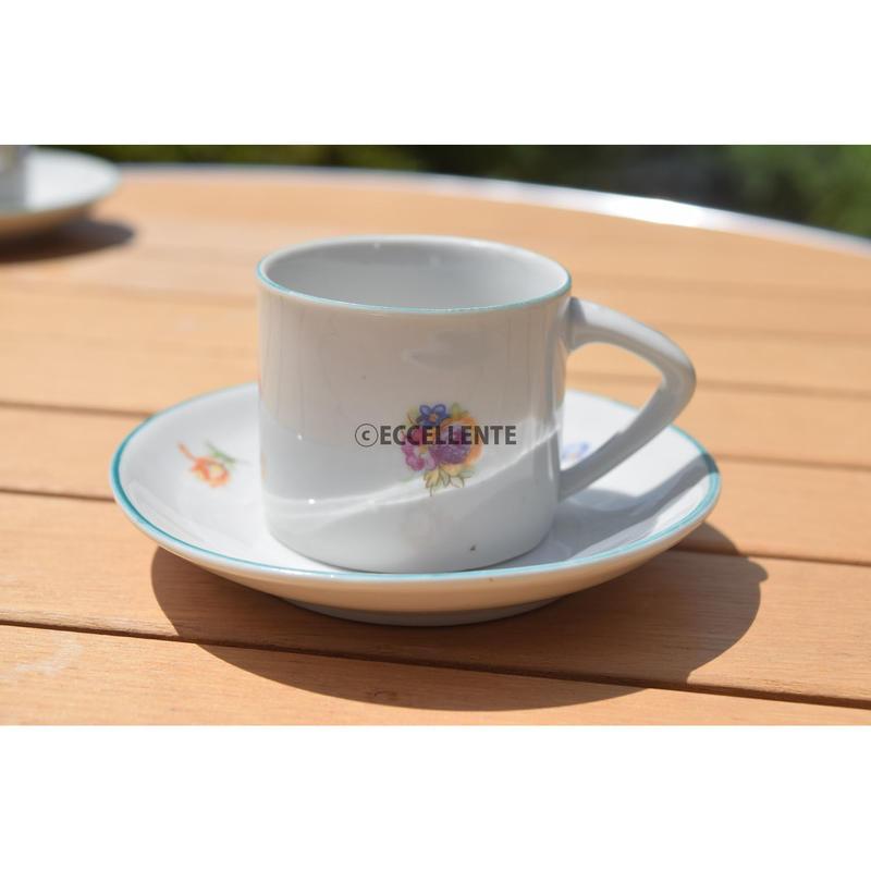 【東欧ヴィンテージ】【ホロハーザ】フラワープリントカップ&ソーサー