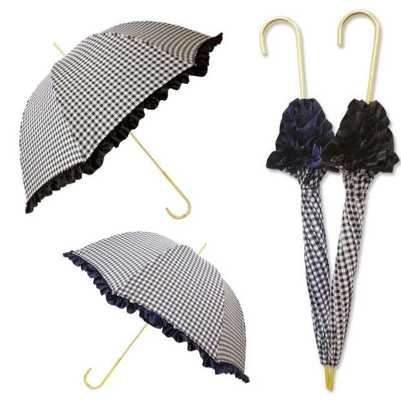 【軽量雨晴兼用傘】フリルギンガムチェック