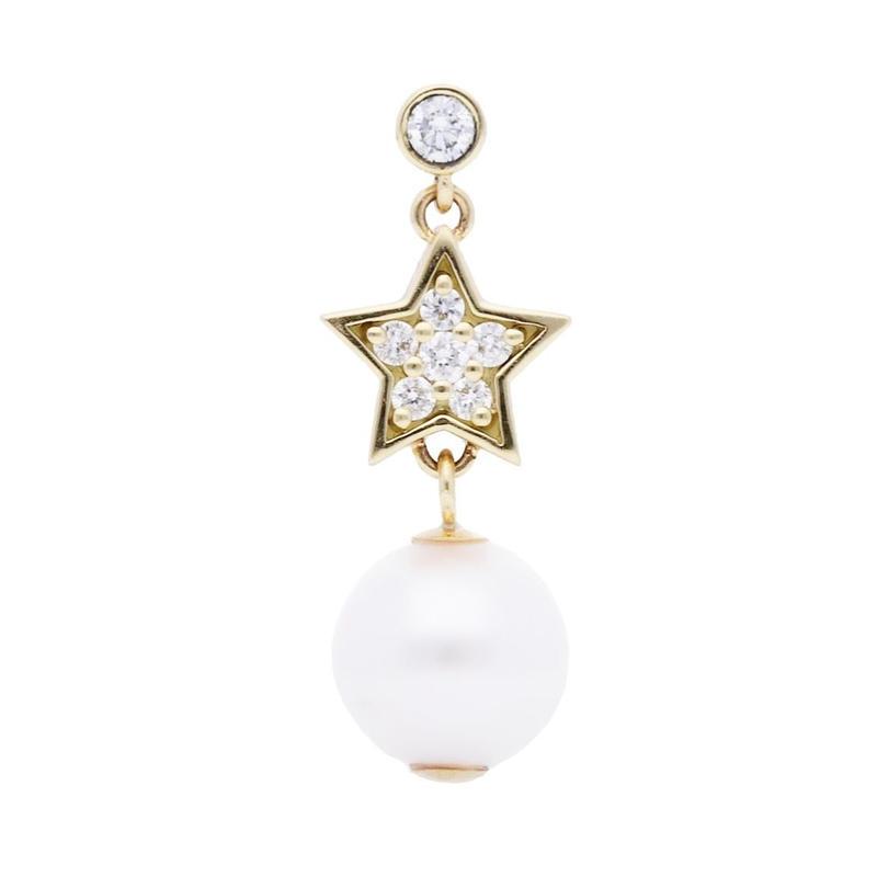 【New】Star pearl pierced earring