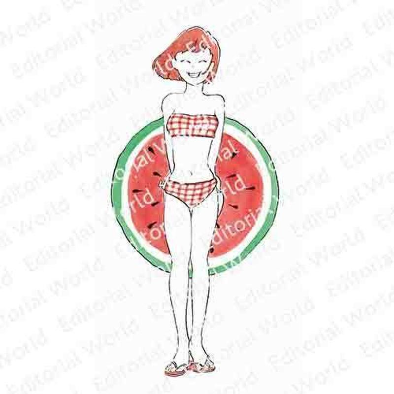 赤い髪の水着の女性のイラスト swimwear-girl01