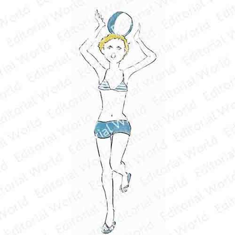 黄色い髪の水着の女性のイラスト swimwear-girl02