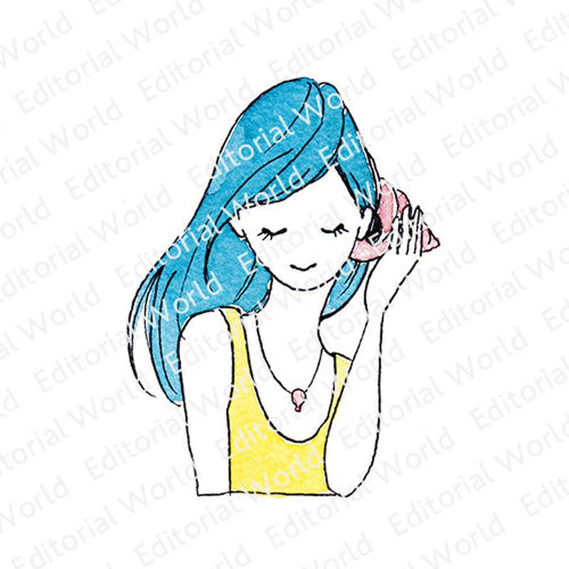 青い髪の女の子イラスト