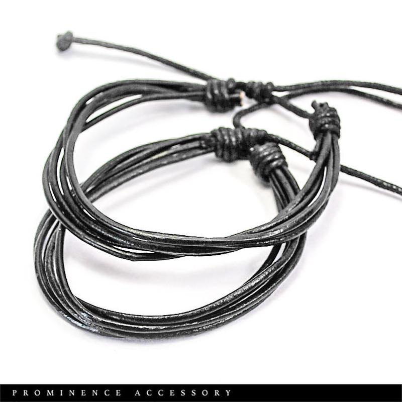 【本革・5連ロープレザーブレスレット】男女兼用・フリーサイズ