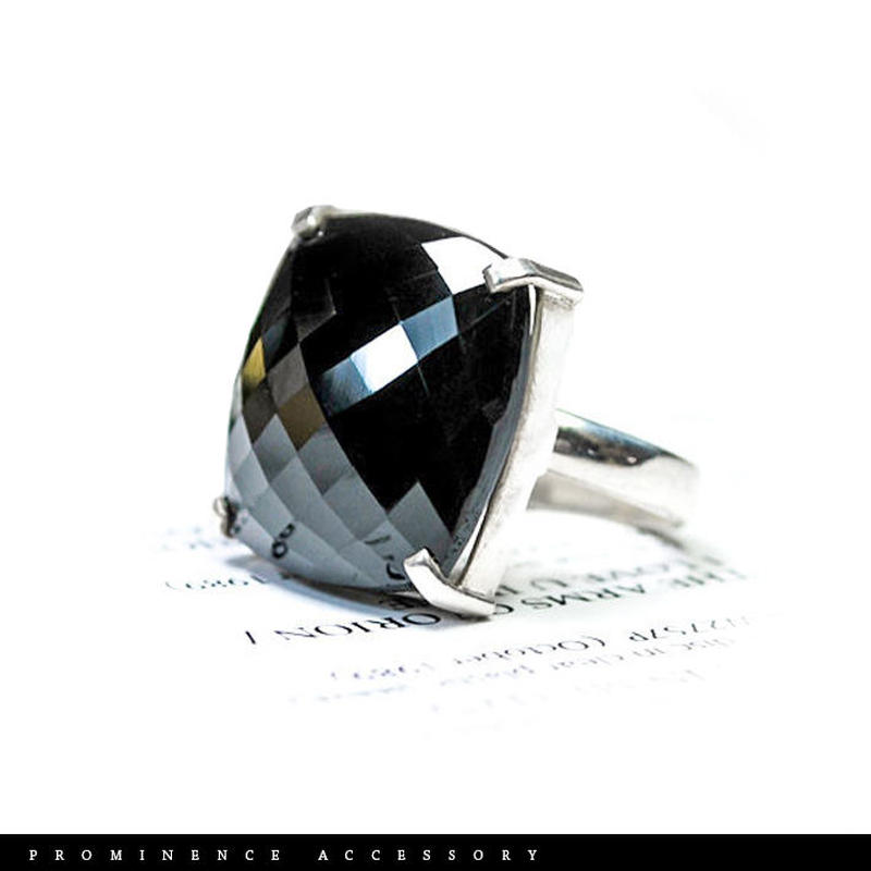 【天然石 | カット・オニキス・スクエア・シルバー925・フリーリング】守護・事故除け・魔除け・パワーストーン
