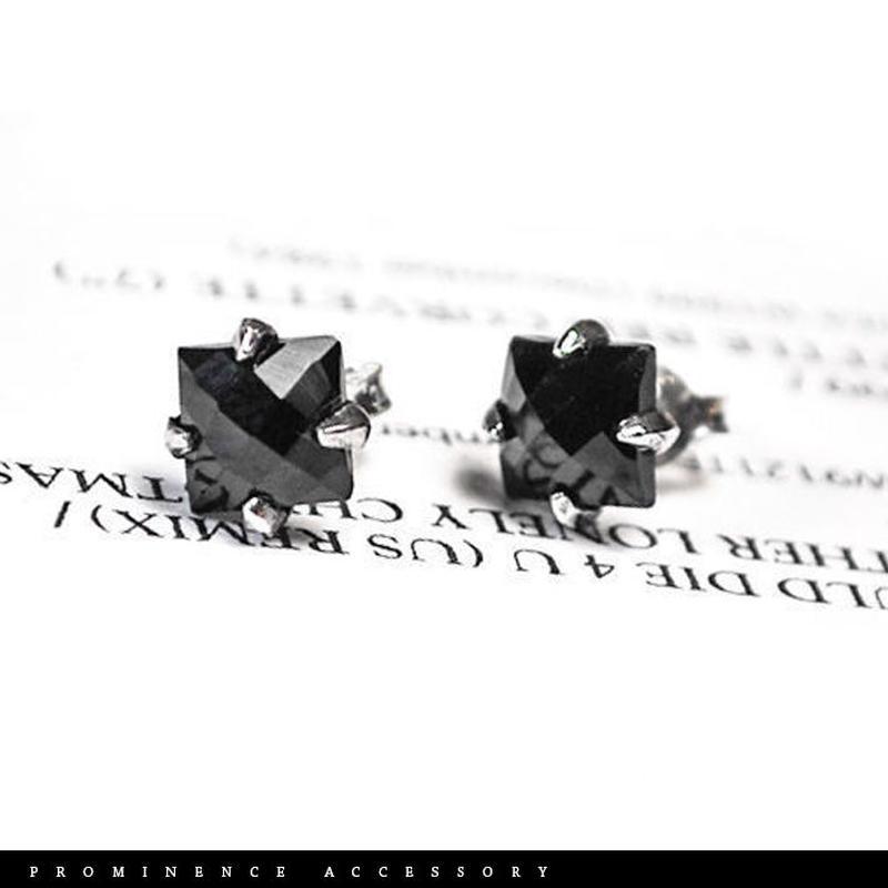 【天然石 | ブラックスピネル・スクエア シルバー925・クローピアス・片耳】守護・成功・繁栄・ポジティブ・パワーストーン