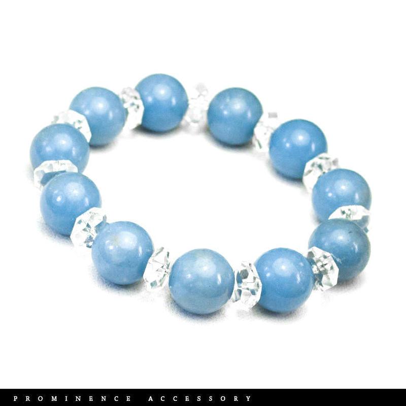 【天然石 | エンジェライト・水晶ブレスレット】守護・深い癒し・平和・慈悲・愛情・パワーストーン