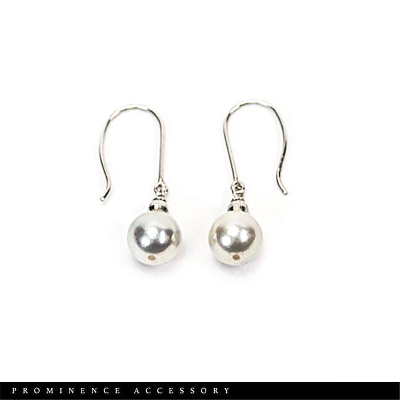 【天然本真珠|アコヤパール7.5mm珠(染め)18金ホワイトゴールド・ピアス】ホワイト
