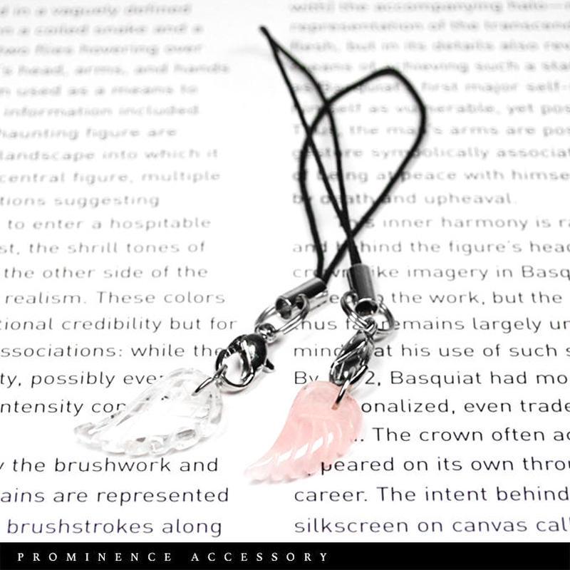 【天然石|2本セット・天使の羽ストラップ・キーホルダー】ローズクォーツ・水晶|癒し・恋愛・守護