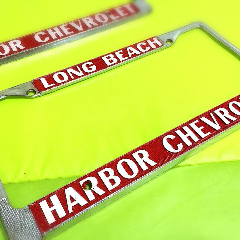 【超希少!!】HARBOR CHEVROLET LONG BEACH ナンバーフレーム2枚Set!