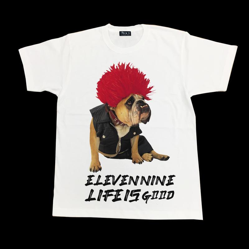 Eleven Nine / Tシャツ/  dog /  Life is Good  / ホワイト