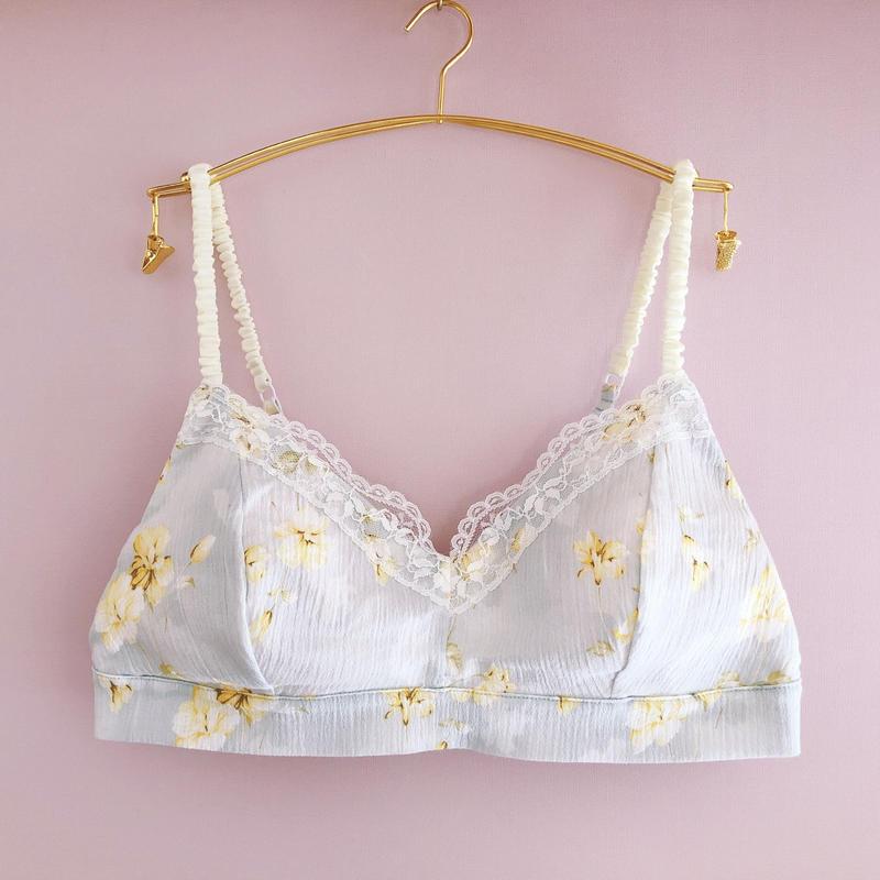 Light blue×Lemon yellow  cotton bra