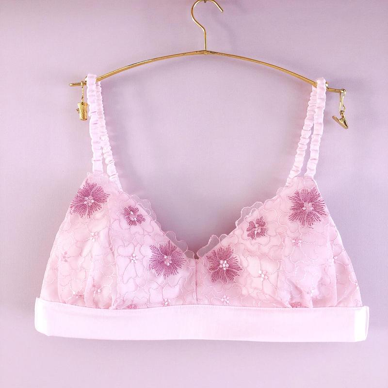 Mermaid pink cotton bra