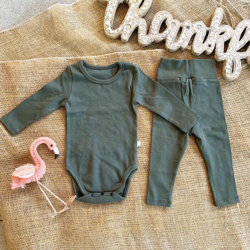 khaki -standard - rompers&leggings set-