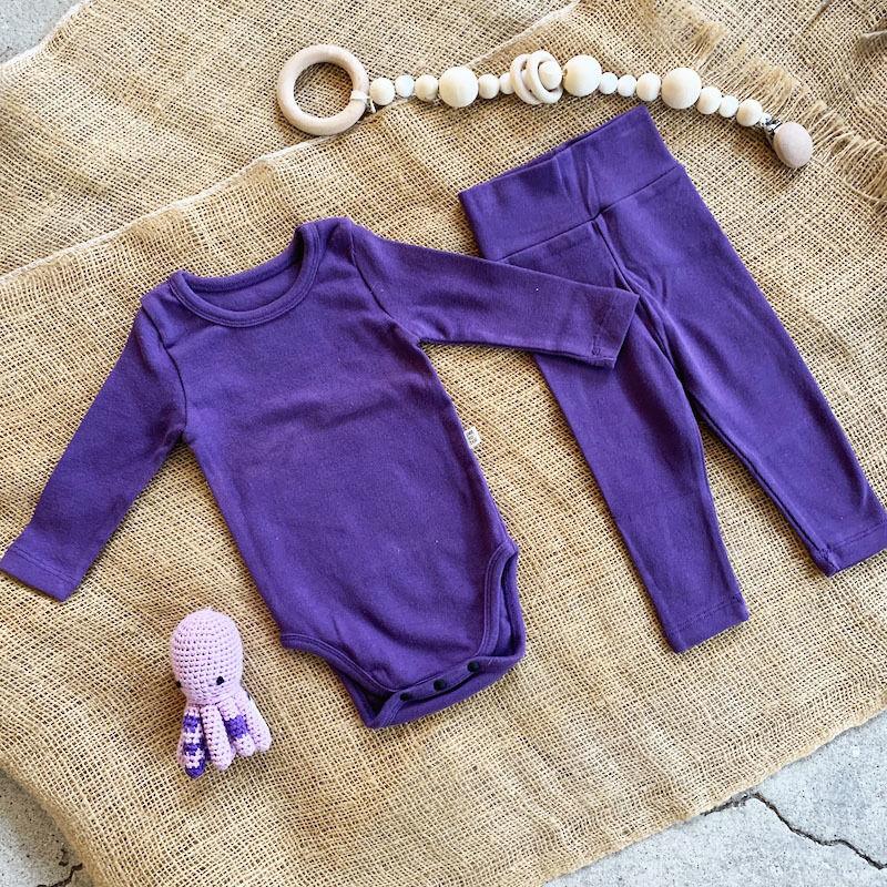 purple -standard - rompers&leggings set-