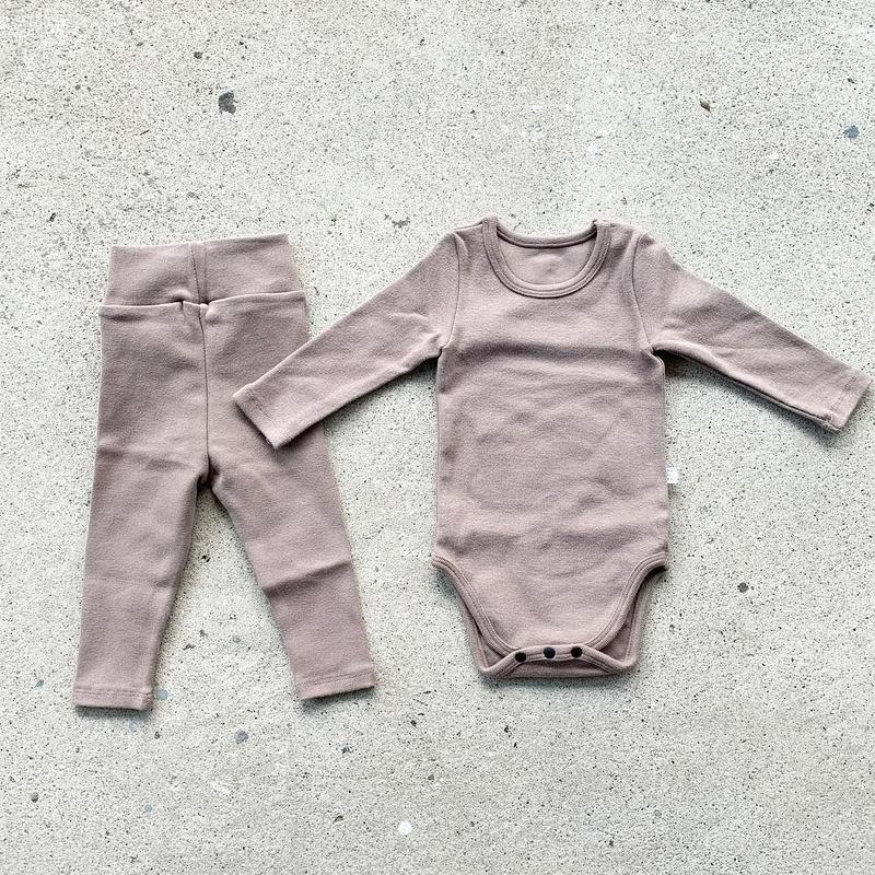 beige -standard - rompers&leggings set-