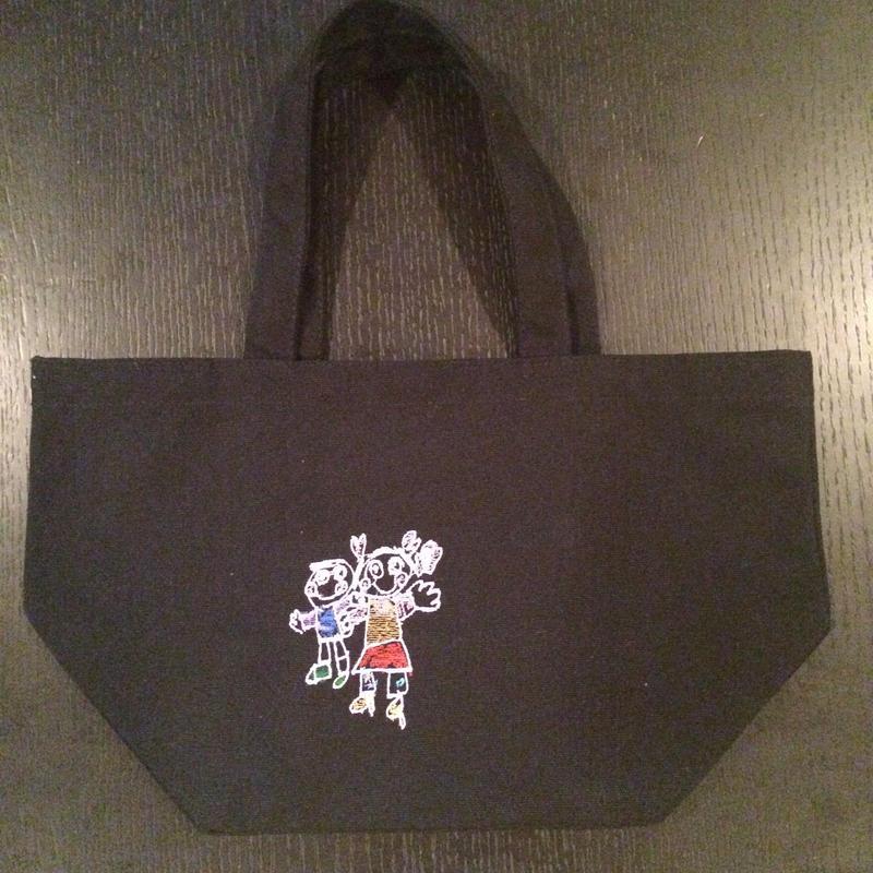 お絵かき刺繡ランチバッグ(黒)