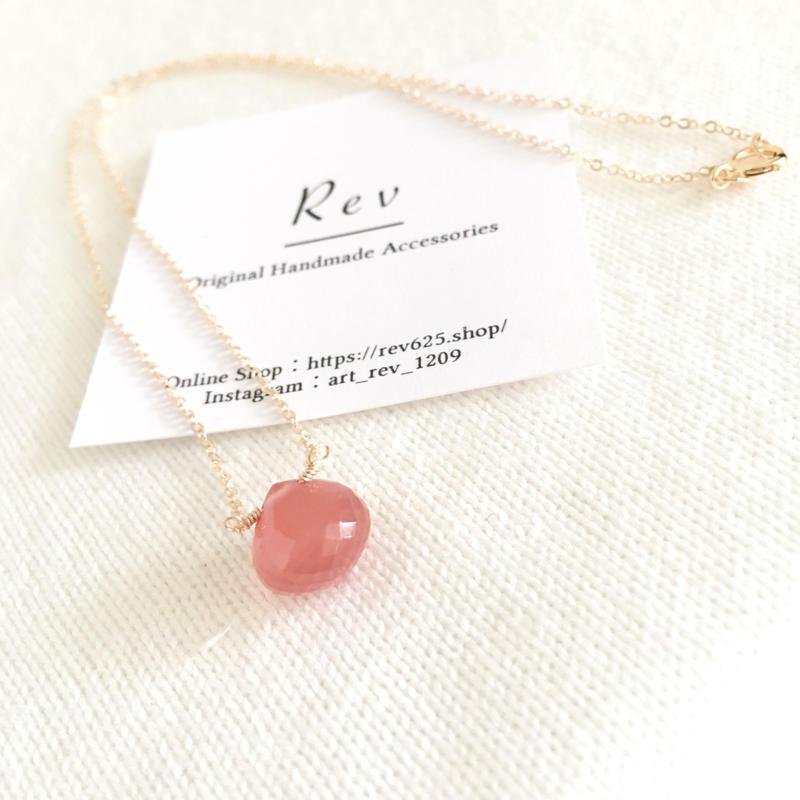 インカローズ A オニオンカットのひと粒ネックレス(40cm)K14GF