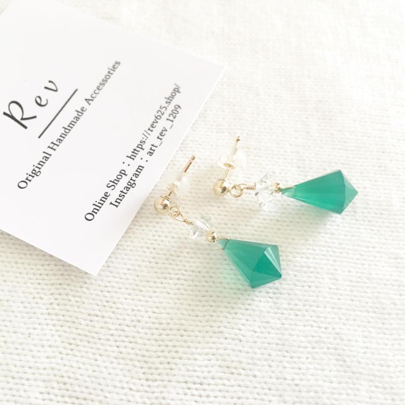 グリーンオニキス×ハーキマーダイアモンドのポストピアス(イヤリング) K14GF