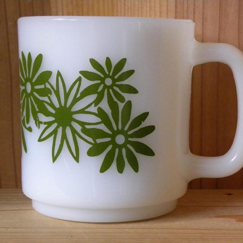 ミルクガラス HAZEL ATRAS Green Flower