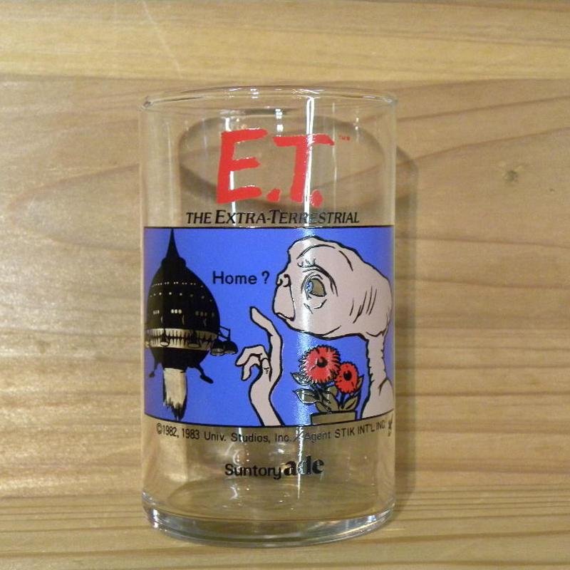 E.T. Suntory ade ノベルティーグラス Home?