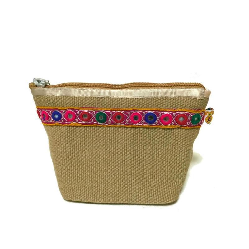アフガニスタンの手織り布とハンドメイドのミラー刺繍 ポーチ Beige