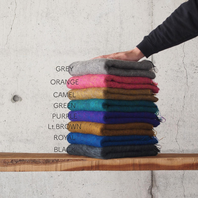 hint hint〈ヒントヒント〉  STOLE (02) GREY/ORANGE/CAMEL/GREEN/PURPLE/Lt.BROWN/ROYAL/BLACK
