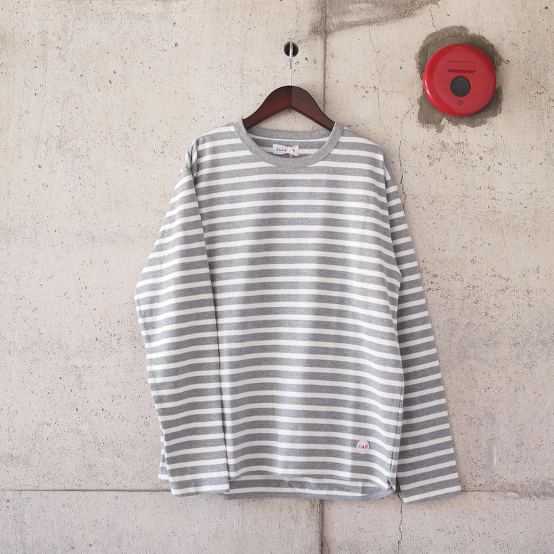 【unisex】Drole & FUN〈ドロールアンドファン〉 NARROW BORDER CREW NECK TEE GREY×WHITE