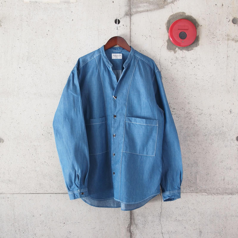 Manual Alphabet〈マニュアルアルファベット〉 6.5oz DENIM V-NECK SHIRT CARDIGAN BLUE