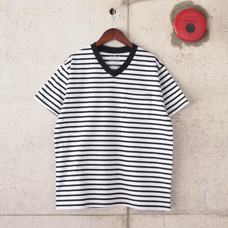 FRUIT OF THE LOOM〈フルーツオブザルーム〉 V-NECK PACK TEE(2枚組) BLACK BORDER