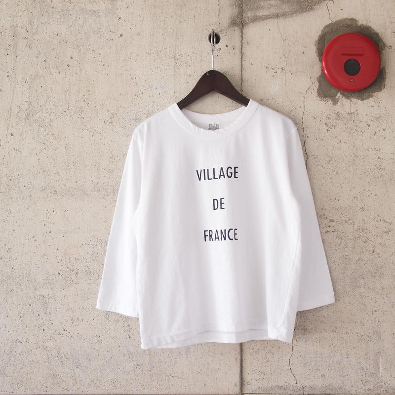 【women】a piece of Library〈ピースオブライブラリー〉VILLAGE7分袖 Tee WHITE