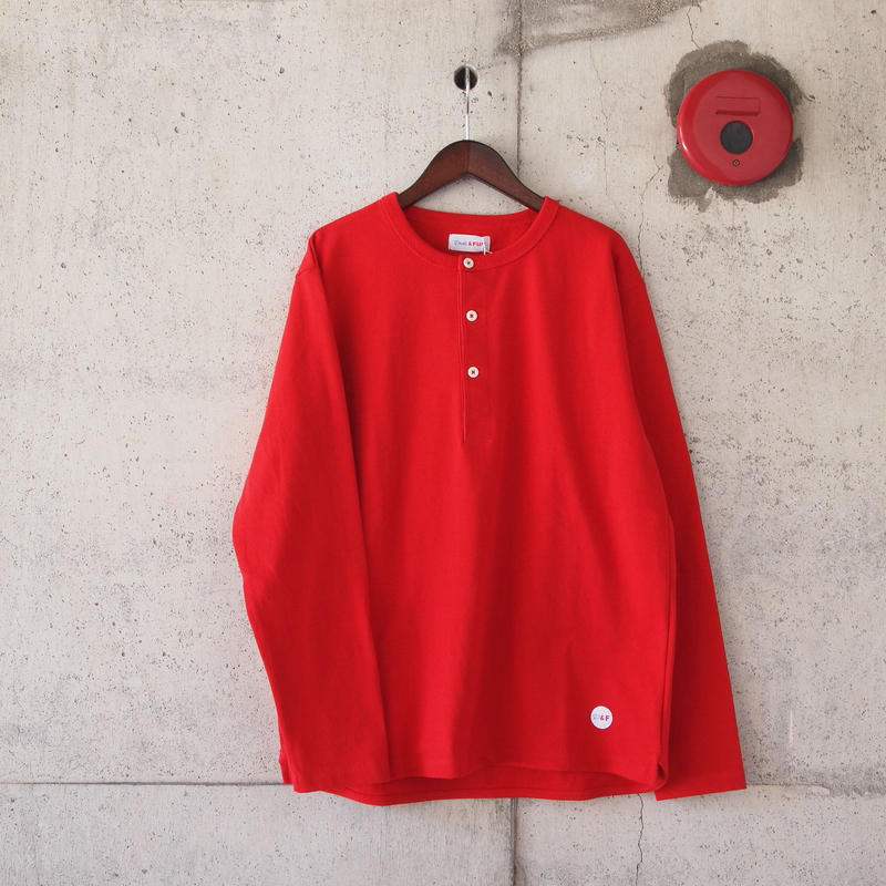 【unisex】Drole & FUN〈ドロールアンドファン〉FRENCH HENLEY NECK TEE RED