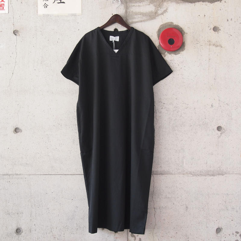 【women】Manual Alphabet〈マニュアルアルファベット〉 FRENCH SLEEVE ONE PIECE BLACK