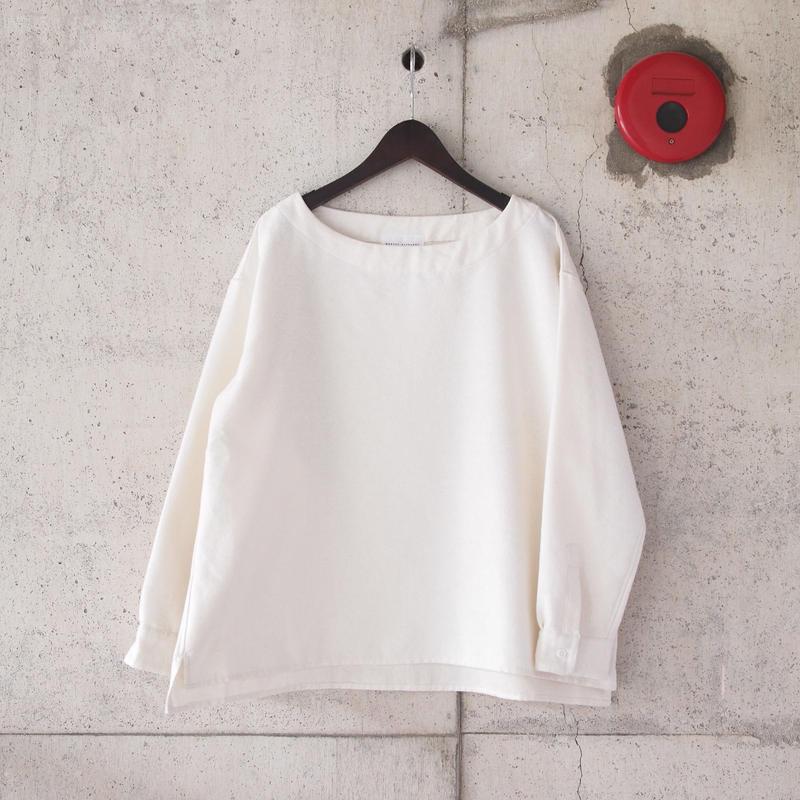 【women】Manual Alphabet〈マニュアルアルファベット〉 LINEN BOAT NECK SHIRT WHITE