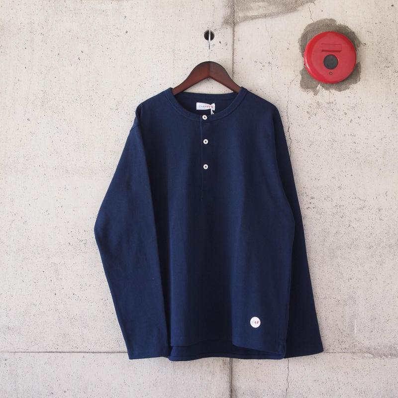 【unisex】Drole & FUN〈ドロールアンドファン〉FRENCH HENLEY NECK TEE NAVY
