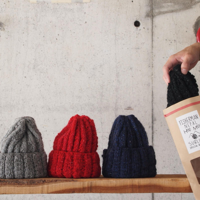 SUBLIME〈サブライム〉 HAND FISHERMAN SILK WATCH CAP GREY/RED/NAVY/BLACK