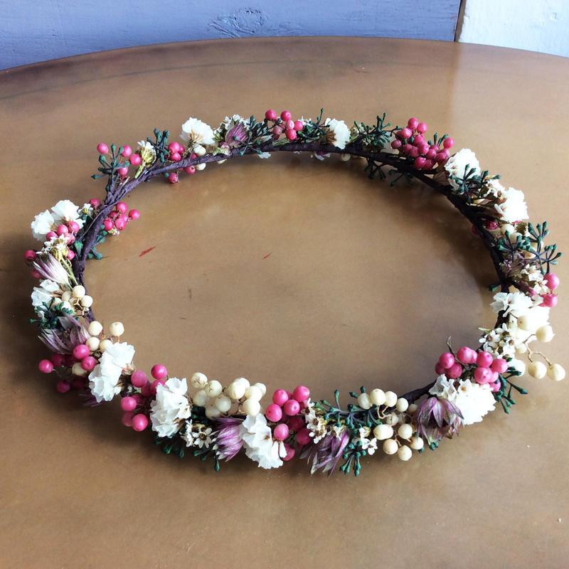 《ウェディング》花かんむり(ピンク&グリーン&ホワイト)