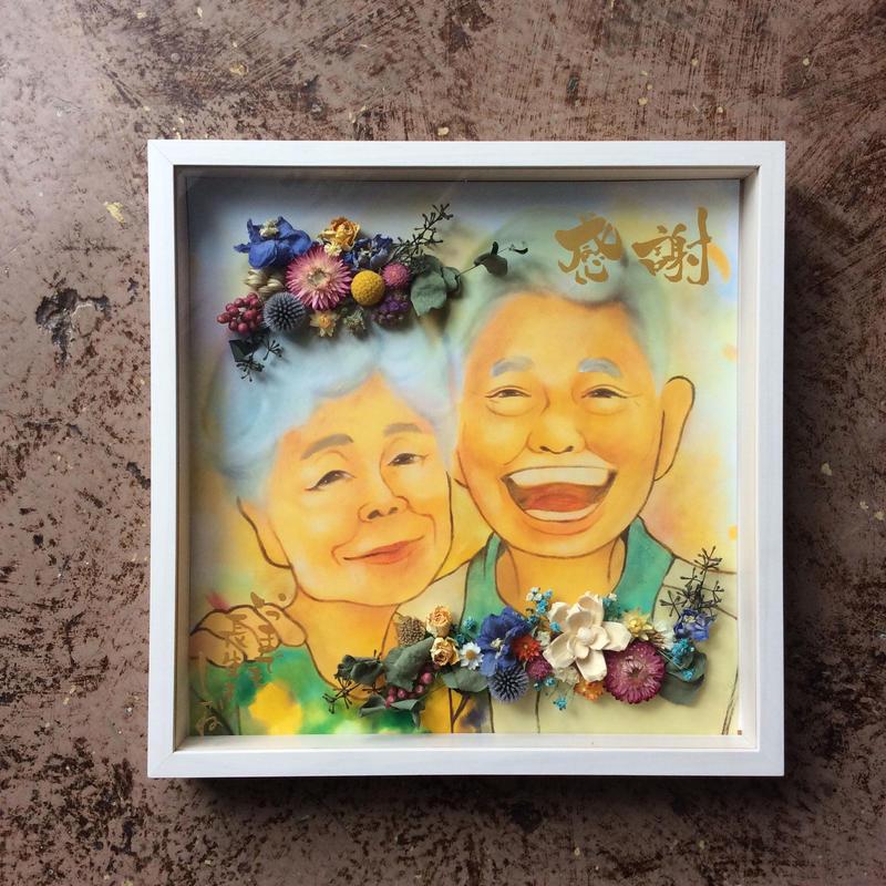《ニガオエ3名+お花デコレーション》キューブボックス大