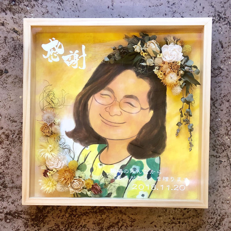 《ニガオエ1名+お花デコレーション》キューブボックス大